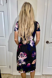 The Delia Black Floral Dress