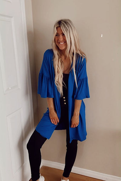Royal Blue Ruffle Detail Sleeve Cardigan