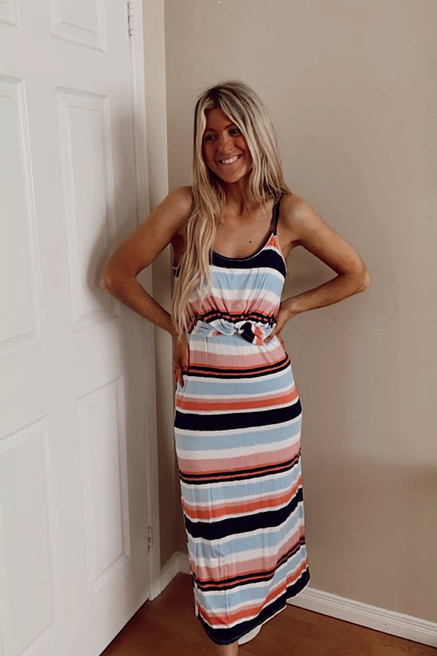 All Summer Long Blue Pink Multi Maxi Dress- Discounted