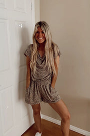 Cozy Taupe Animal Print Romper
