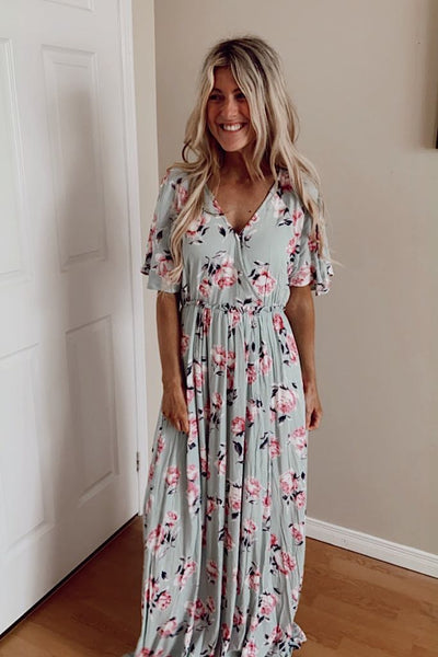 Mint Charming Floral Maxi Dress-Discounted