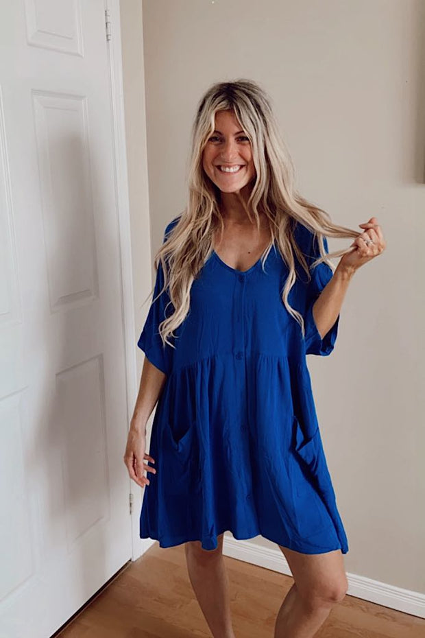 Royal Blue Brooklynn Baby Doll Dress