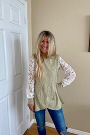 Pre Order Pretty in Green Tea Latte Lace Sweater