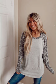 Cashmere Brushed Leopard Raglan Long Sleeve Top