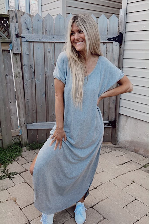 Cozy Life Heather Grey Floral Back Detail Maxi Dress