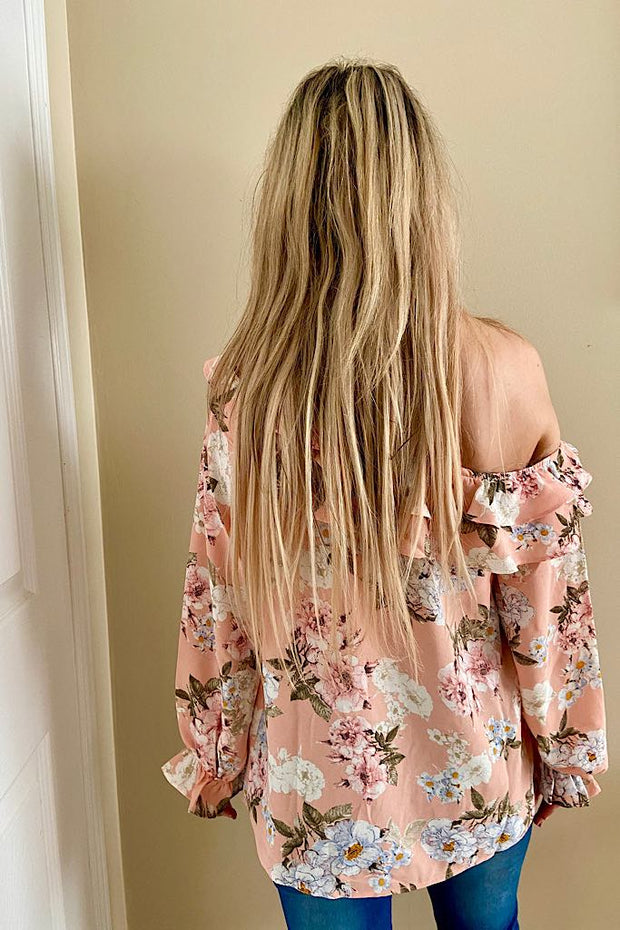Pretty In Coral Pink Floral Ruffle One Shoulder Top