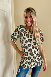 Summer Fun Sage Leopard Puff Short Sleeves