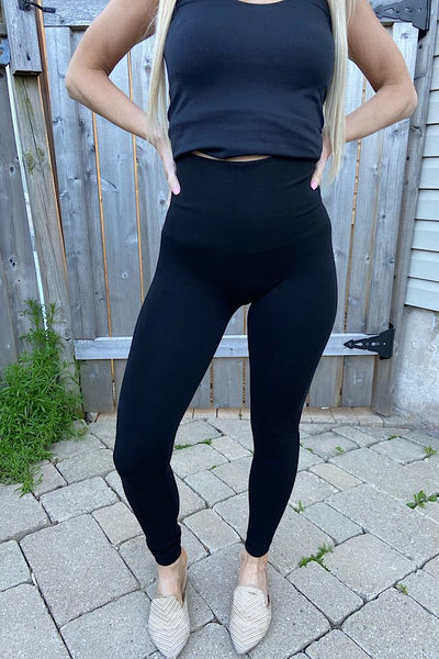 Black Bamboo Tummy Control High Waisted Leggings