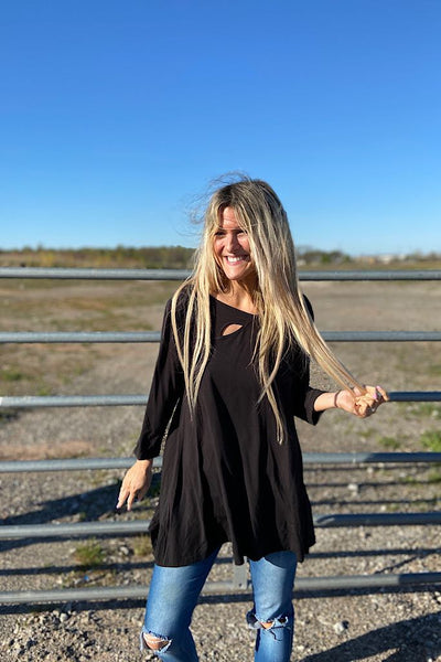 Black Bamboo Cut Out Tunic Top