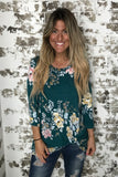 Pre Order- Teal Floral Super Soft Charming Knot Top