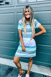 Pretty Colour Block T Shirt Dress- New Colour