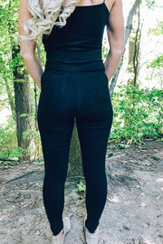 Pre Order Black Button High Waisted Pull On Jeggings
