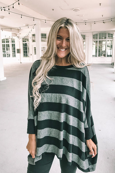 Pre Order Boho Soft Brushed Striped Tops- Grey/Black