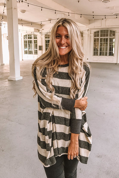 Oatmeal Striped Boho Soft Brushed Top