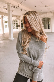 Heather Grey Luxe Knit Slouchy Sweater