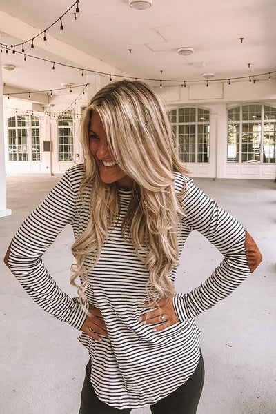 Pre Order Dreamy Striped Elbow Patch Top