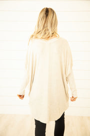 Pretty In Oatmeal Soft V Neck Top
