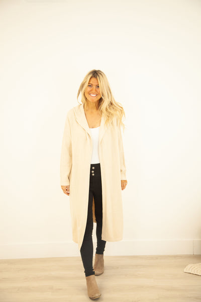 Beige Cashmere Blend Hoodie Duster-Clearance