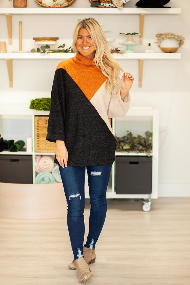 The Black Liz Multi Cowl Neck Top