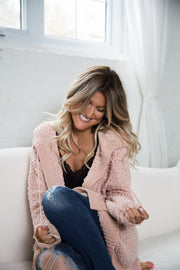 Dusty Pink Cozy Soft Teddy Cardigan - women's clothing
