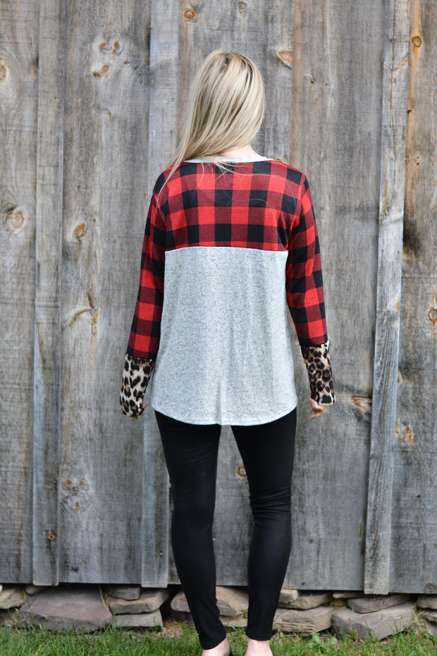 Plaid Animal Love Top