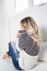 Girls Weekend Two Tone Sherpa Style Zip Up
