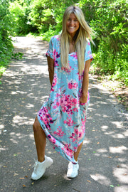 Aqua Mermaid Floral Maxi Dress-It's Back