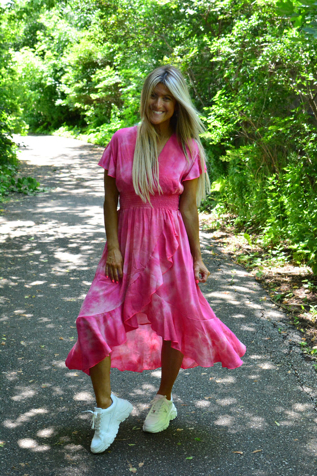 Pretty Fuchsia Ruffled Sleeves Tie Dye Midi Dress