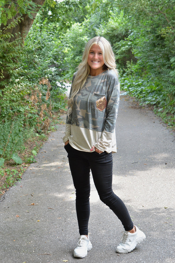 Camo Colour Block Sequin Top- Online Promo