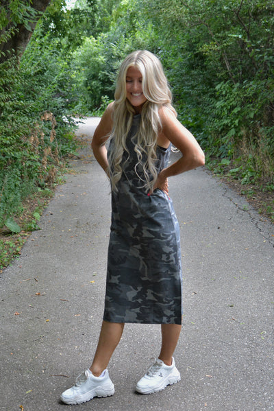 French Terry Flirty Camo Dress