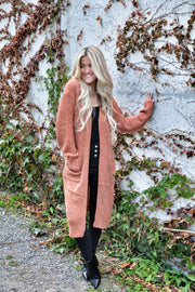 Rust Cozy Knitted Cardigan