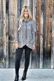 Pre Order Coffee Poncho Turtleneck Hoodie Style Top