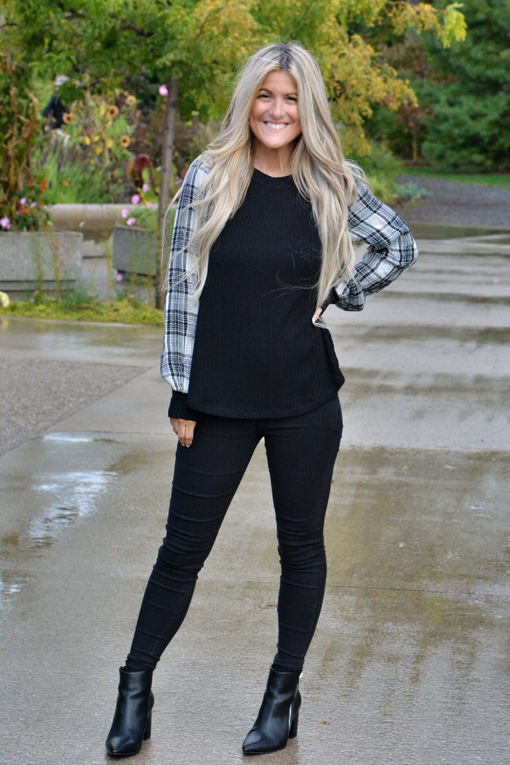 All That Plaid Sleeve Top