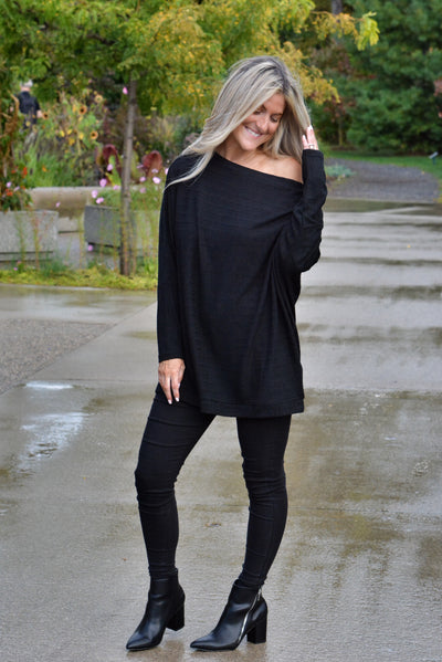Black Slouchy Mock Neck Pullover Sweater