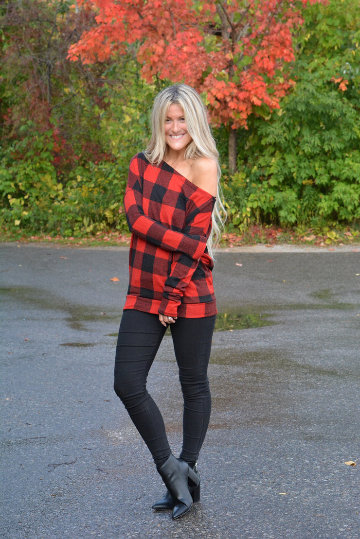 Plaid Meets Date Night Off One Shoulder Top