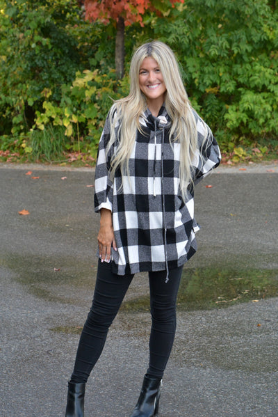 Oversized Plaid Knit Cowl Neck Sweater
