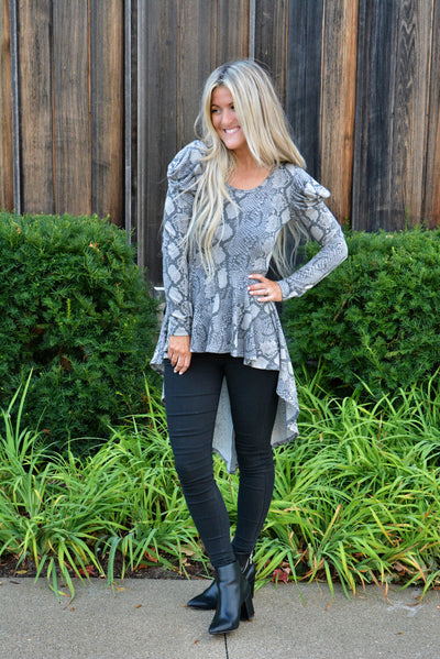 Dressy Snakeskin High Low Tunic- Promo Today