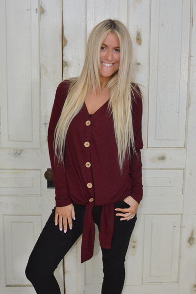 Burgundy Button Down Flattering Tie Top- Promo Line