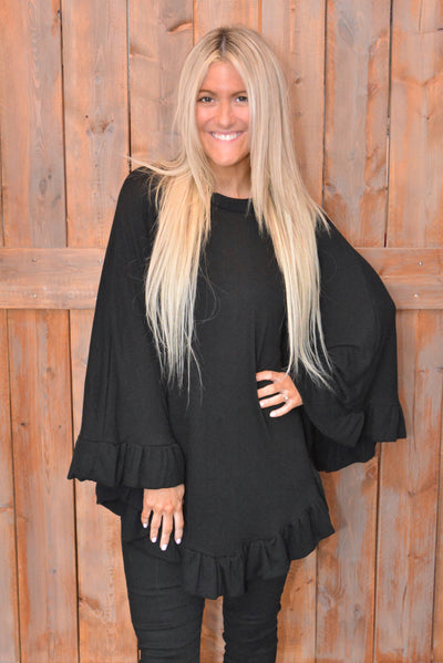 Black Soft Ruffle Poncho - Online Exclusive Promo