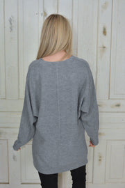 Nice Light Grey Lightweight Ribbed Trim Seam Sweater- Promo Line