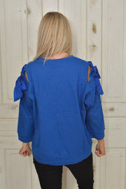 Royal Blue Cold Shoulder Bow Sleeve Sweater - Flash Sale
