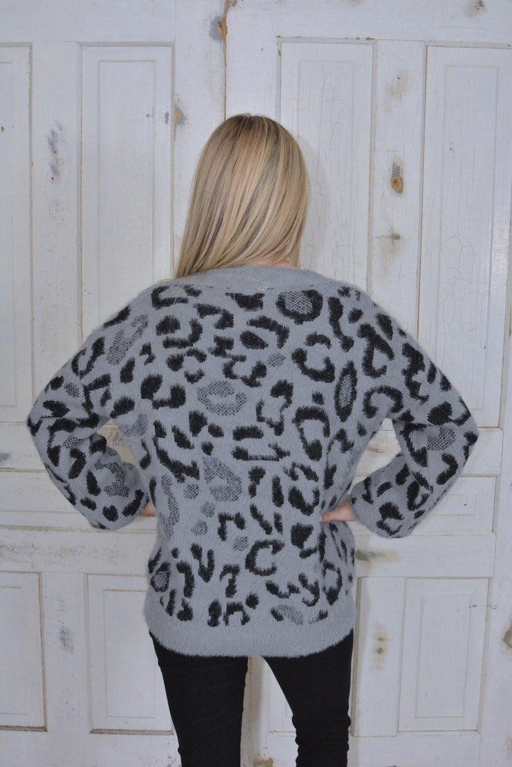 Amazing Luxe Leopard Eyelash Knit sweater