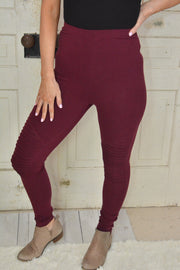 Burgundy Motto Leggings- Promo Line