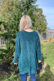 Hunter Green Eyelash Knit Top
