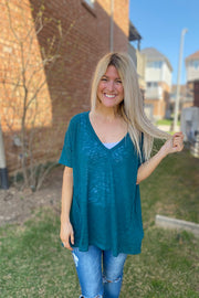 Hunter Green Trendy Boho Top-Promo
