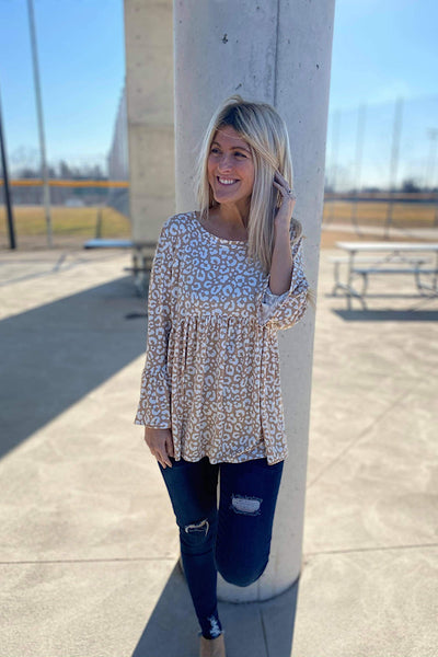 Taupe Soft Animal Print Babydoll Bell Sleeve Top