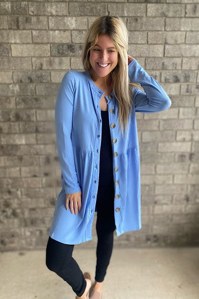 Spring Blue Button Pocket Cardigan-Promo