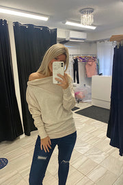 Oatmeal Ribbed Side-Zip Knit Top