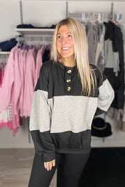 Colour Block Button Sweatshirt