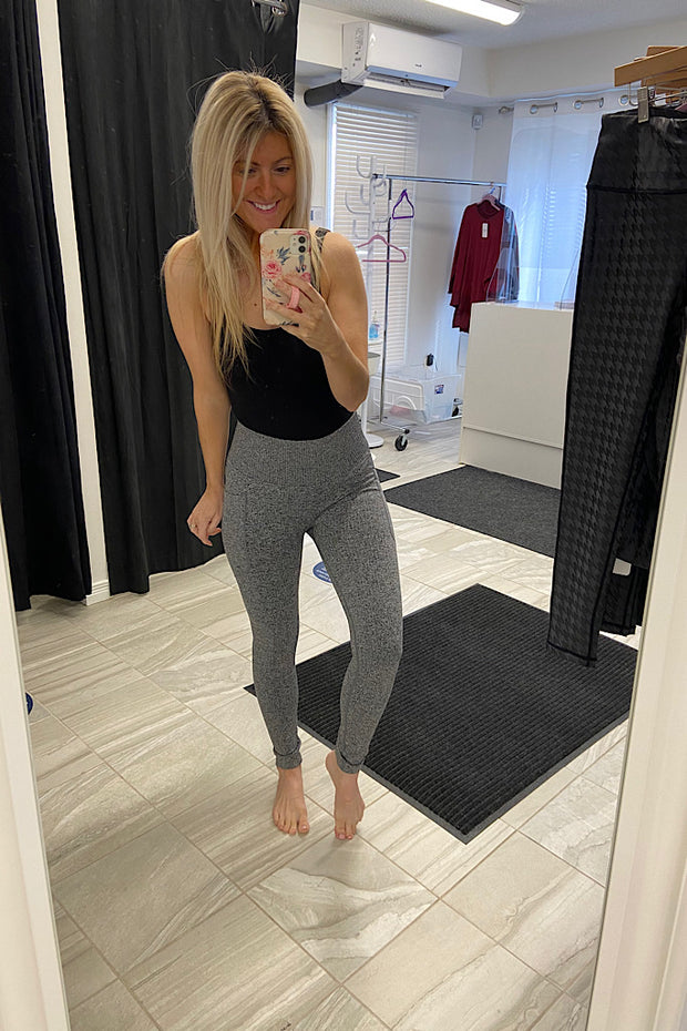 Grey Ribbed Seamless High Waisted Leggings